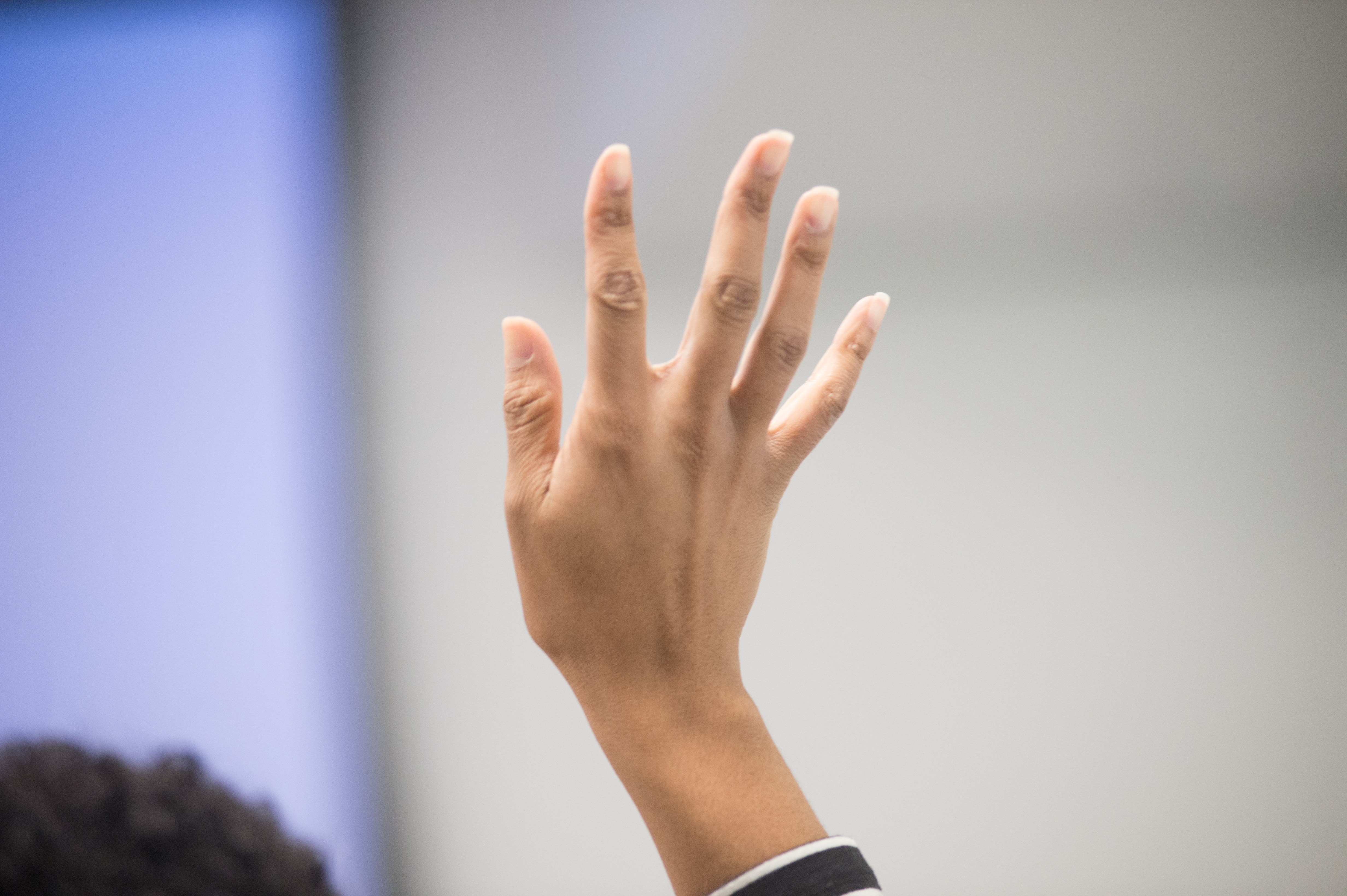 A hand is raised for questions during the U.S. Department of Agriculture (USDA) and U.S. Environmental Protection Agency (EPA) sponsored National Civil Rights Conference, at the U.S. Institute of Peace in Washington, D.C. on Wednesday, Nov. 4, 2015. This interactive training event will feature voices of experience, research, discussions, and thought-provoking dialogue. Workshop, Panel and Town Hall sessions will feature representatives from federal and local governments, tribes, community groups, business and industry, public interest groups, academia, and other entities. The integrative forum will provide conference participants an opportunity to network with colleagues representing a variety of interests who are from diverse organizations. Conference participants will accrue informative and productive resources that can support their individual program goals and objectives. We wish every conference participant a productive and positive experience through innovation and collaboration. USDA photo by Lance Cheung.